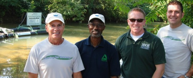 L to R: Storm Water Systems Vice President Mark Kirves, GWARDC Executive Director Dennis Chestnut, DDOE's Matt Robinson and Bandalong Project Manager Jason Davis visiting the Watts Branch Bandalong in August 2011