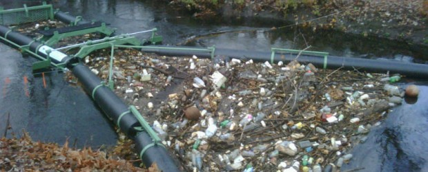 Bandalong Litter Trap full of trash in Brockton, Mass after a storm