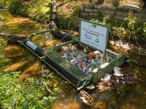 A Bandalone Litter Trap in Watts Branch in the District of Columbia. Traps help area communities collect and remove trash from the Anacostia and its tributaries. (Dave Harp)